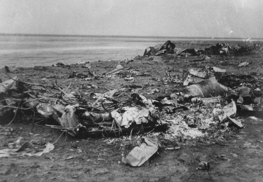 Burnt wreckage from the Ju 88